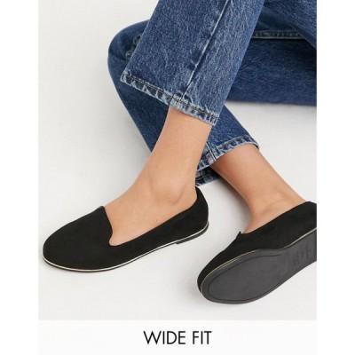 ニュールック New Look Wide Fit レディース ローファー・オックスフォード フラット シューズ・靴 Flat Loafer In Black ブラック