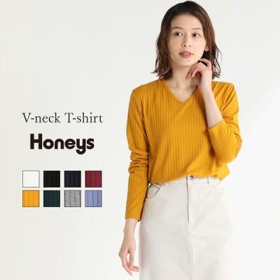 トップス Tシャツ カットソー レディース 長袖 無地 Vネック 秋 冬 春 Honeys ハニーズ テレコVネックTシャツ
