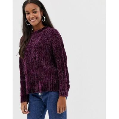 ブレーブソウル レディース ニット&セーター アウター Brave Soul indo sweater in chenille Blackberry