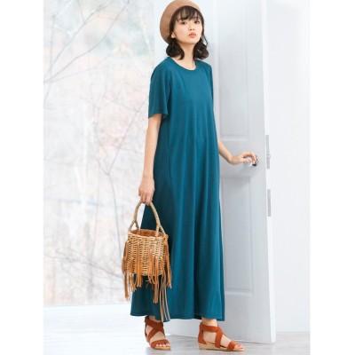 大きいサイズ (接触冷感)全方向ストレッチハイブリッドカットソーマキシ丈ワンピース ,スマイルランド, ワンピース, plus size dress