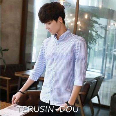 メンズ縞柄シャツボタンダウンシャツ短袖シャツカジュアルシャツスリムビジネス通勤通学シンプルメンズファッション