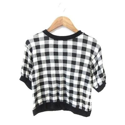 【中古】マウジー moussy Tシャツ カットソー ショート 半袖 チェック 1 黒 ブラック /AAO30 レディース 【ベクトル 古着】