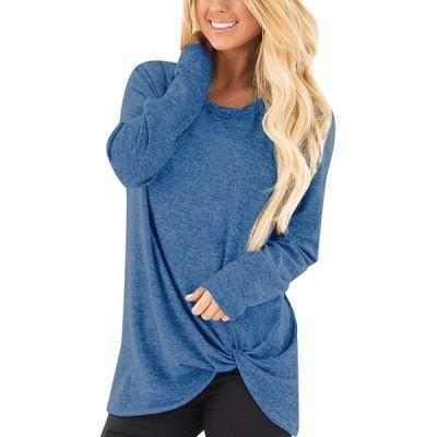 ACHIOOWA Women Casual Long Sleeve V Neck Pullover Tunic Tops T-Shirt 9