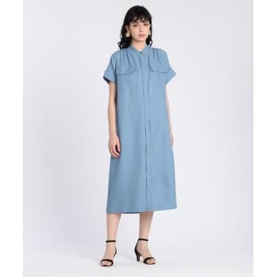 INED/イネド サファリデザインシャツワンピース ブルー1 07