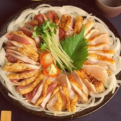 剛火あぶりの地鶏さしみ(タタキ)1kgとさしみ醤油セット
