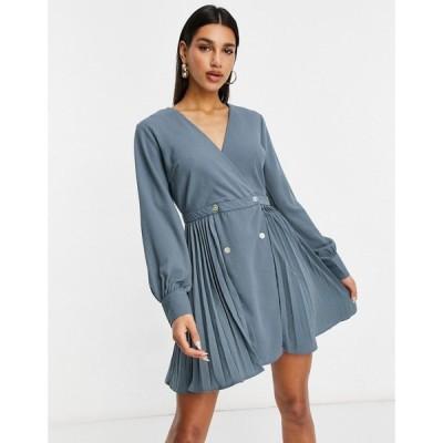 ミスガイデッド Missguided レディース ワンピース スケータードレス ワンピース・ドレス Pleated Skater Dress In Blue ブルー