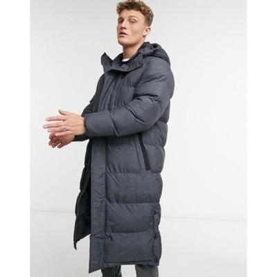 ブレーブソウル メンズ コート アウター Brave Soul longline puffer coat in black
