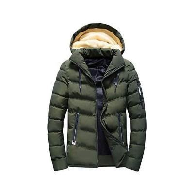 AiLoKoSo メンズ ダウンジャケット ラムウール ダウンコート 中綿ジャケット アウター フード着脱 裏起毛 厚手 暖かい 防風 防寒
