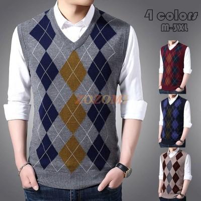 ニットベスト メンズ Vネック 袖なしセーター トップス アウター 大きいサイズ 幾何柄ビジネス プルオーバー ベスト 紳士服 秋冬 オフィス カジュアル セーター