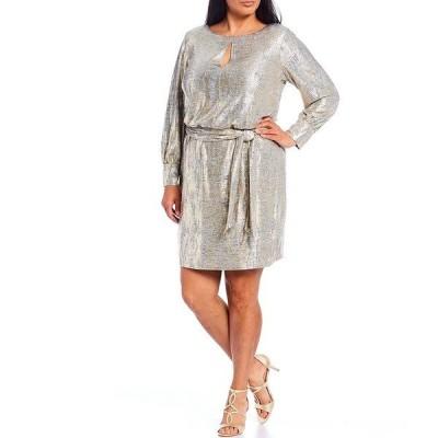 ヴィンスカムート レディース ワンピース トップス Plus Size Long Sleeve Foiled Metallic Blouson Dress Gold