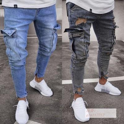 2020 ヨーロッパとアメリカ 販売 ファッション 弾性 男性 ジーンズ 傾向 膝 穴 ファスナー 小さな足 ズボン 卸し