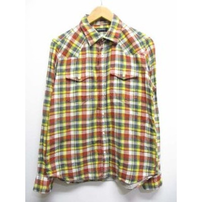 【中古】ボイコット BOYCOTT 長袖 チェック柄 シャツ 2 黄 イエロー系 コットン スナップボタン メンズ