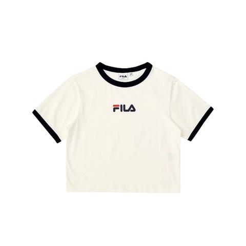 FILA 短版圓領T恤-牙白色 5TEV-1214-WT