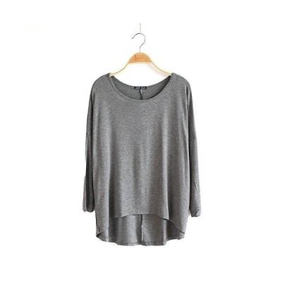 Veamor レディース ボートネック 長袖 トップス カットソー 無地 とろみ Tシャツ ヨガウェア ドルマン Tシャツ ?