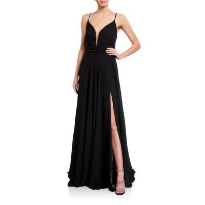 ファビアーナ レディース ワンピース トップス Deep V-Neck Beaded-Waist Lace-Up Chiffon Gown