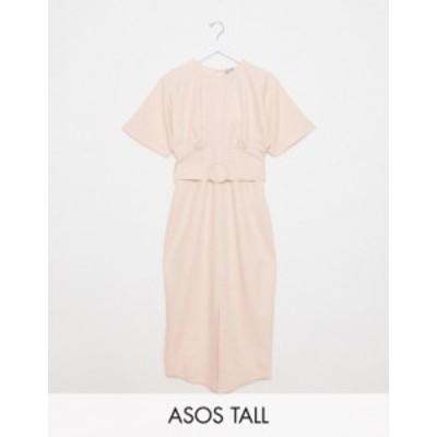 エイソス レディース ワンピース トップス ASOS DESIGN Tall belted midi dress with underbust seams in blush Blush