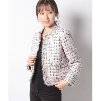 ANAYI/アナイ ゴールドミックスツィードクルージャケット ピンク1 36