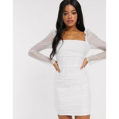 インザスタイル ミニドレス レディース In The Style ruched mesh puff sleeve mini dress in white エイソス ASOS ホワイト 白