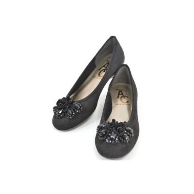 バレエシューズ 靴 コンフォート ローヒール ラウンドトゥ ミセス お花 ビジュー パンプス 77-1302