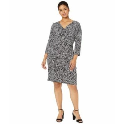 ラルフローレン レディース ワンピース トップス Plus Size Floral Jersey Dress Black/Cannes Blue/Colonial Cream