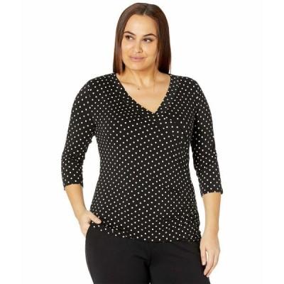 ラルフローレン シャツ トップス レディース Plus Size Polka Dot Wrap Style Jersey Top Polo Black/White
