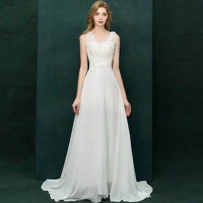 ウエディングドレス 二次会 花嫁 ロング 大きいサイズ 3L トレーンドレス スレンダーライン エンパイアライン ノースリーブ レース 花柄 刺繍 スパンコール