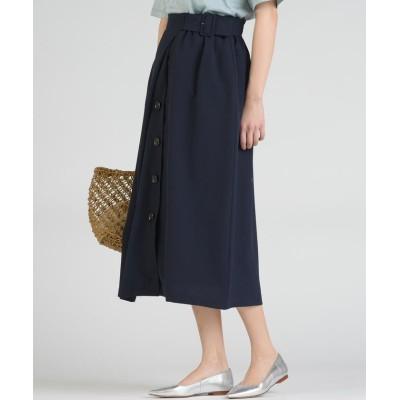 (socolla/ソコラ)【socolla】麻調合繊前ボタンラインスカート/レディース ネイビー