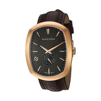 フィリップスタインメンズモダンステンレスレザーカーフスキンストラップ付きスイス製クォーツ時計、ブラウン、22(モデル:72RGP-CRGBK-CSTA
