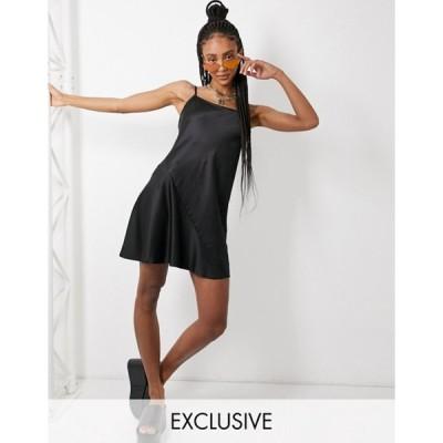 コルージョン レディース ワンピース トップス COLLUSION plain mini slip dress in black