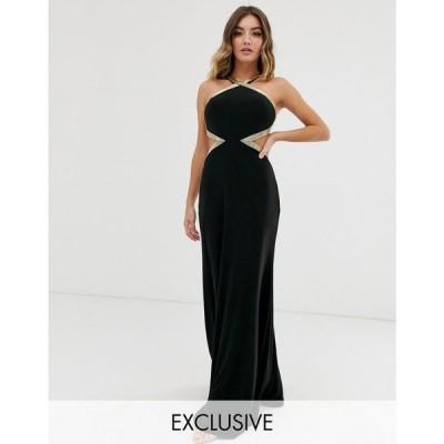 フォーエバーユニーク Forever Unique レディース パーティードレス ワンピース・ドレス Exclusive high neck embellished maxi gown in black Black