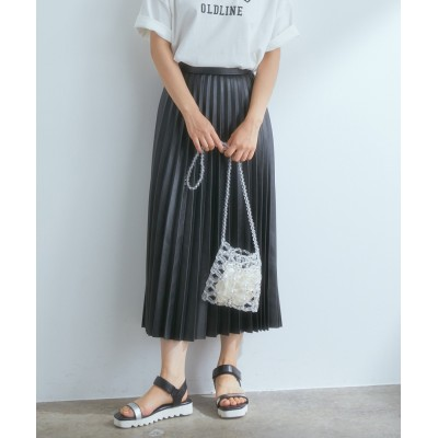 ビス/エコレザープリーツスカート/ブラック/M