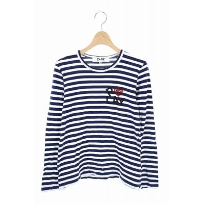 【中古】プレイコムデギャルソン PLAY COMME des GARCONS Tシャツ カットソー ボーダー 長袖 M 白 紺 /AO レディース 【ベクトル 古着】