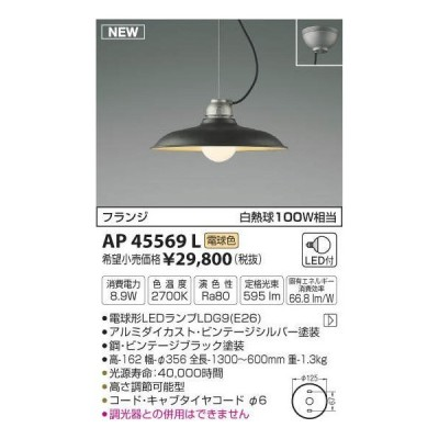 コイズミ照明 フランジタイプ LEDペンダントライト AP45569L