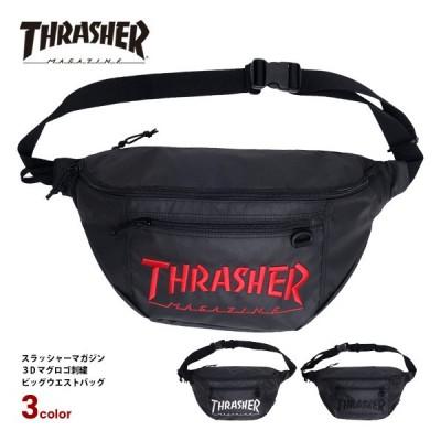 THRASHER ウエストバッグ スラッシャー 3Dロゴ 刺繍 ビッグウエストバッグ スラッシャーマガジン メンズ レディース 斜め掛け バッグ 男女兼用 THRASHER-THR-149