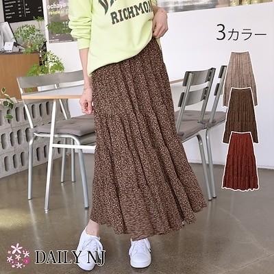 ロングスカート ボトムス 花柄 フレアスカート ウエストゴム 韓国ファッション sk503