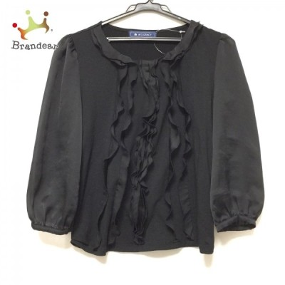 エムズグレイシー M'S GRACY 長袖Tシャツ サイズ38 M レディース - 黒 クルーネック/フリル 新着 20210318