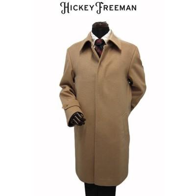 ヒッキーフリーマン メンズコート ステンカラー ミドル カシミヤ100% ベージュ 無地 M L XL(LL) HICKEYFREEMAN