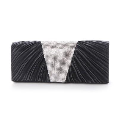 スタイルブロック STYLEBLOCK ラインストーン装飾プリーツパーティーバッグ (ブラック)
