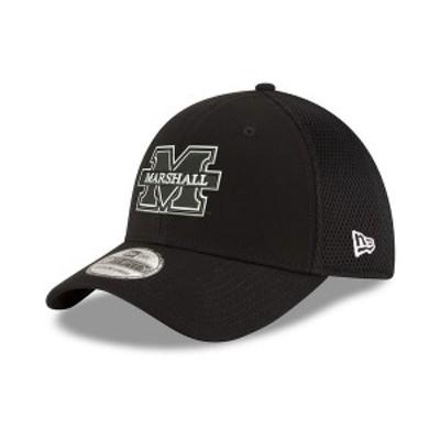 ニューエラ メンズ 帽子 アクセサリー Marshall Thundering Herd Black White Neo 39THIRTY Stretch Fitted Cap Black