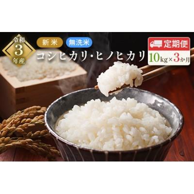 「3ヵ月定期便」令和3年産 新米 無洗米 コシヒカリ・ヒノヒカリ 10kg×3回 合計30kg【E103】