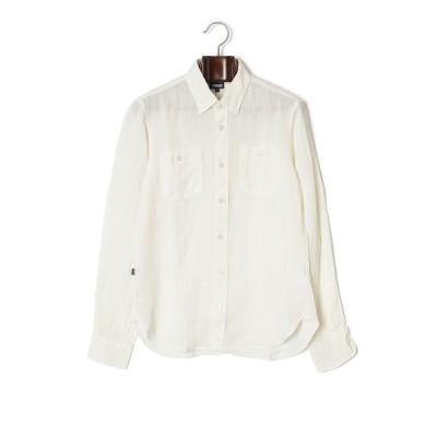 ダブルポケット 長袖シャツ ホワイト m