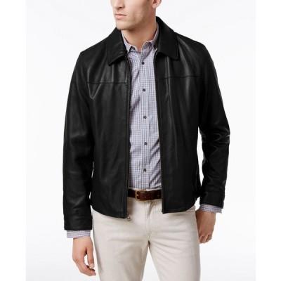 コールハーン ジャケット&ブルゾン アウター メンズ Men's Full-Zip Leather Bomber Jacket Black