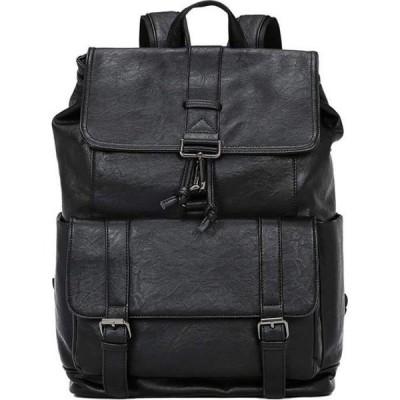 ララ Lara メンズ バックパック・リュック バッグ Leather Multi Pockets Backpack Travel Bag - Black