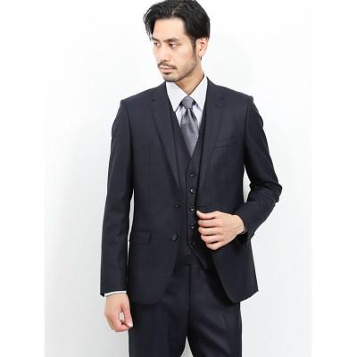 【タカキュー】 光沢ウール混 スリムフィット3ピーススーツ アムンゼンウィンドペン 紺 メンズ ネイビー AB6 TAKA-Q