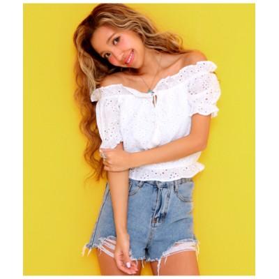 ANAP / クロッシェレースタッセルリボンオフショルトップス WOMEN トップス > Tシャツ/カットソー