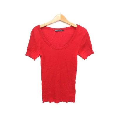 【中古】ラルフローレン RALPH LAUREN Tシャツ カットソー リブ ストレッチ 刺繍 コットン 赤 M ■VG レディース 【ベクトル 古着】