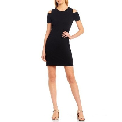 ワンステート レディース ワンピース トップス Cold Shoulder Knit Sheath Dress Rich Black