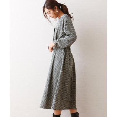 幾何学柄カットソーワンピース (ワンピース)Dress