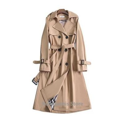 ロングコートアウターレディーストレンチコート大きいサイズ20代30代春秋カーキブラック韓国風着痩せスプリングコート