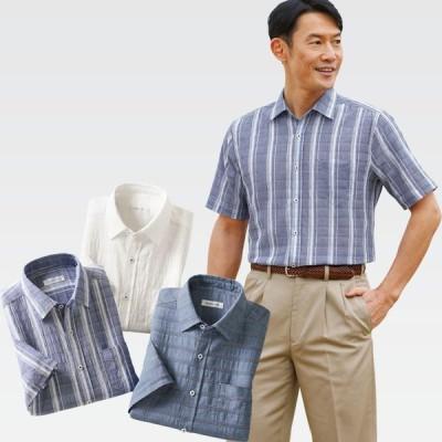 楽らく着られる涼やか半袖シャツ3色組(シニアファッション 70代 80代 60代 男性 メンズ おじいちゃん服 春夏 ) 敬老の日 ギフト プレゼント